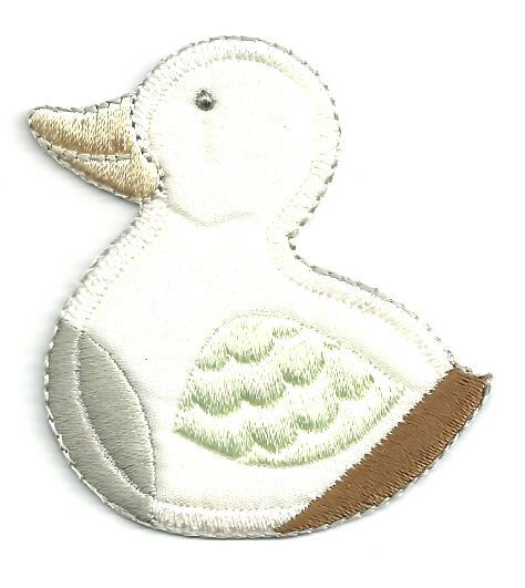 DUCK - CREAM COLORED DUCK W/EMBROIDERED DETAILS IRON ON APPLIQUE #Unbranded
