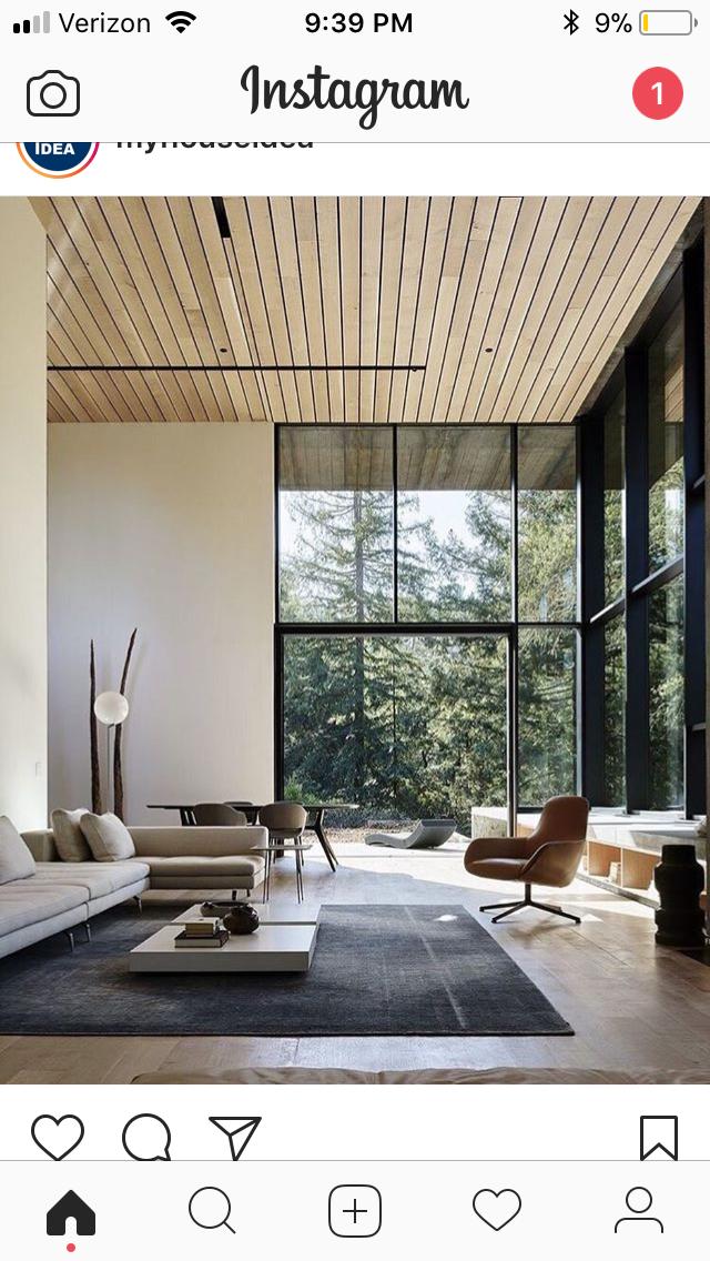 High Ceiling Living Room Modern, Modern Contemporary Living Room, Luxury Modern House, Contemporary