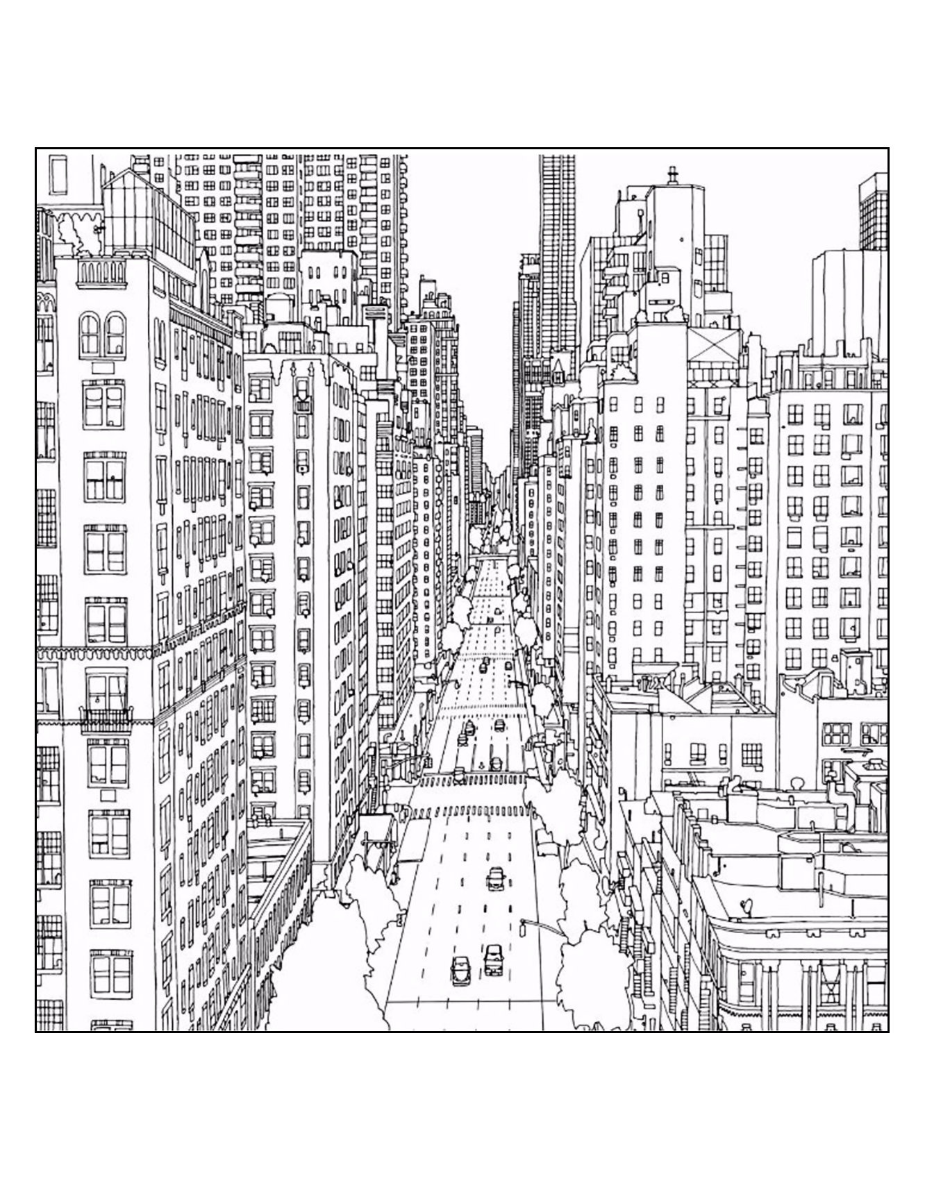 Free coloring pages new york city - Free Coloring Page Coloring Adult New York 1st Avenue And