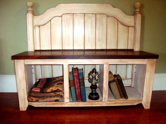Entry storage bench repurposed head board carpinteria - Cosas de casa muebles ...