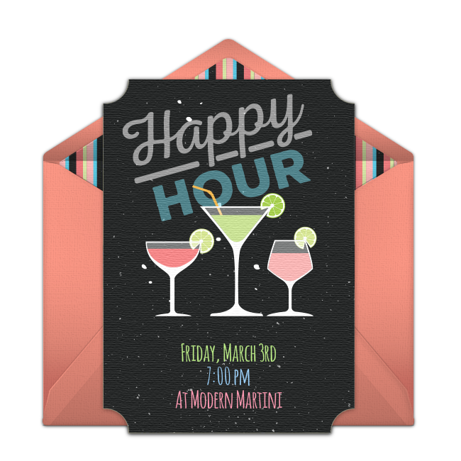 Happy Hour Drinks Invitations Happy Hour Drinks Fun Cocktails Invitations