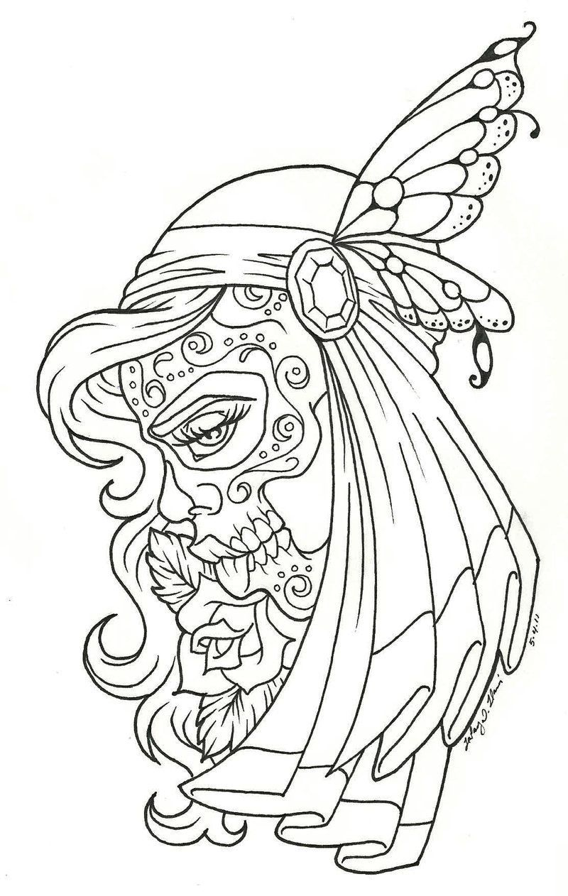 Sugar Skull Woman Skull Coloring Pages Coloring Pages Coloring