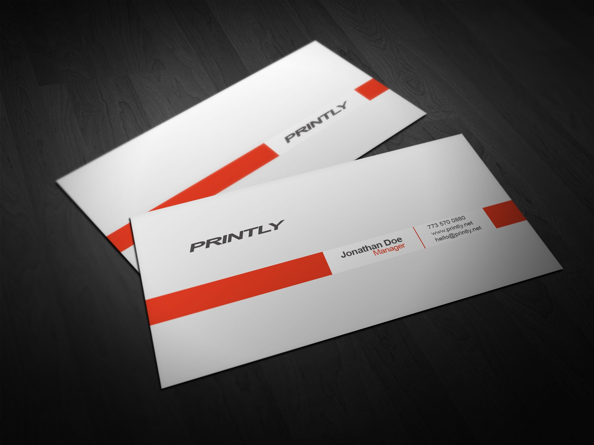 Clean minimalistic double sided free printable business cards