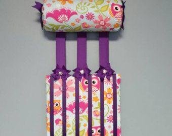 Headband Holder or head band holder hairbow organizer board soft pink with white polkadots Handmade combination holder