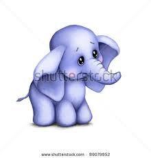 Carino elefanti animale giovane con cuore illustrazione vettoriale
