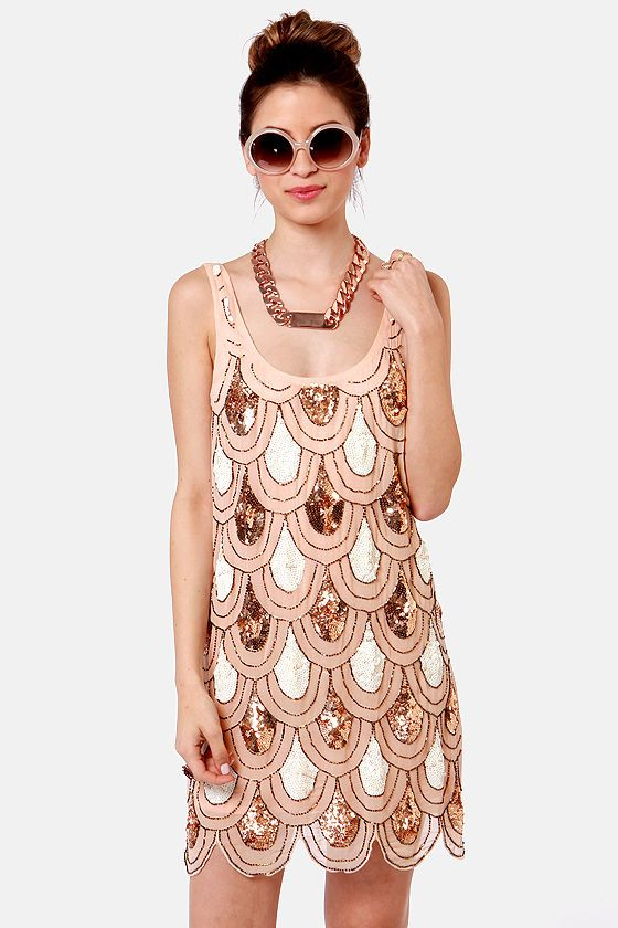 Party Like It\'s 1929 Peach Sequin Dress