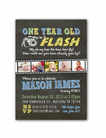 One Year Old In A Flash First Birthday Invitation