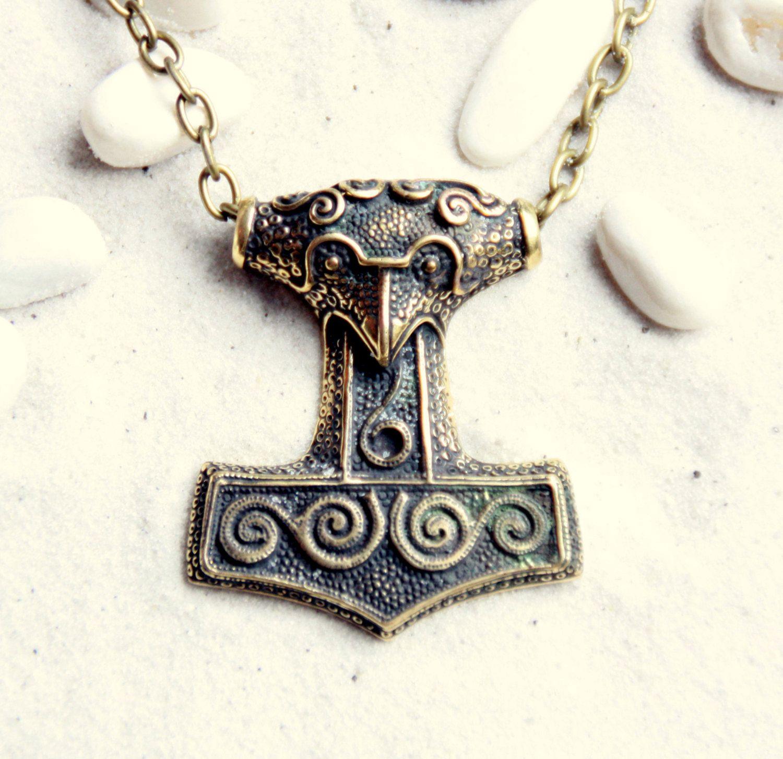 Thor's Hammer (Mjöllnir) : Bronze Handmade Norse Pendant with chain by MagicBronze on Etsy