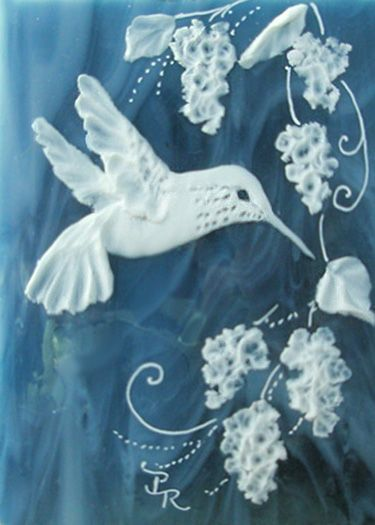 Hummingbird Sculpted Cameo on Stained Glass ACEO