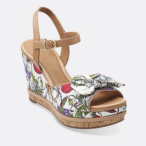 Womens Sandals Clarks Amelia Joyce White Floral