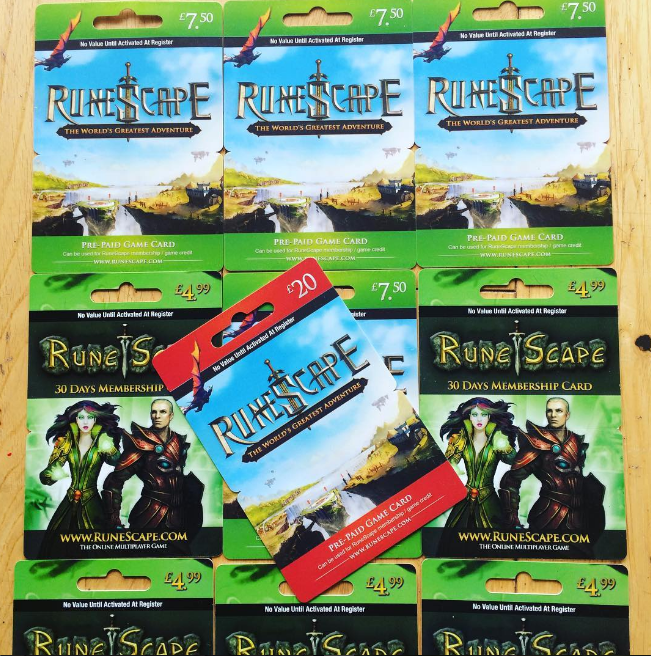 These old runescape membership cards remind me of that old