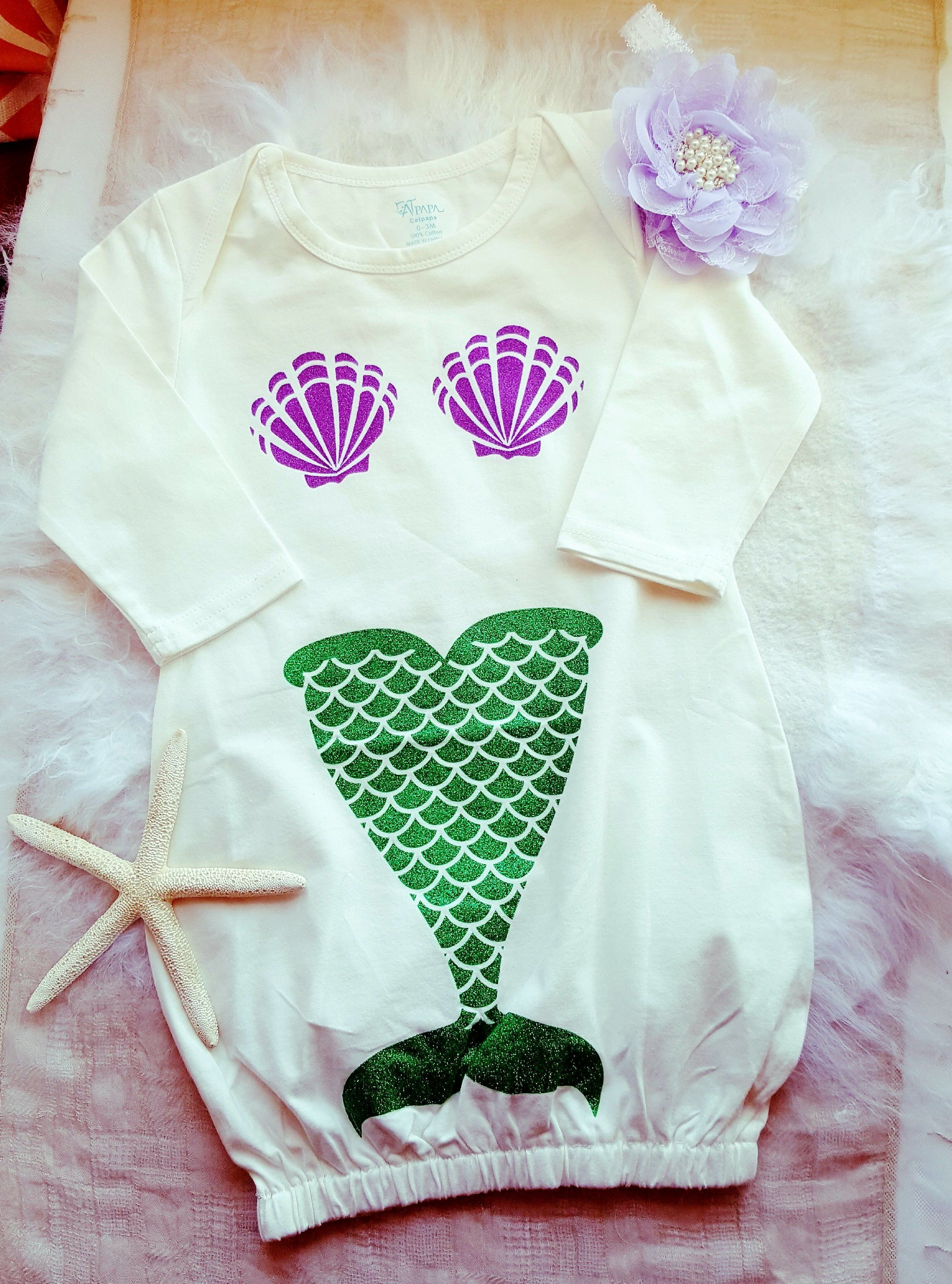 Little Baby Mermaid Sleeping Gown Newborn Size Mermaid s Tale Purple