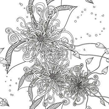 zentangle: Modelo inconsútil del fondo del Doodle floral con las ...