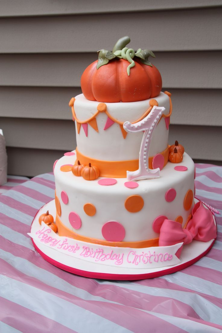 first birthday pumpkins and Pink Fall Festival Birthday Cake