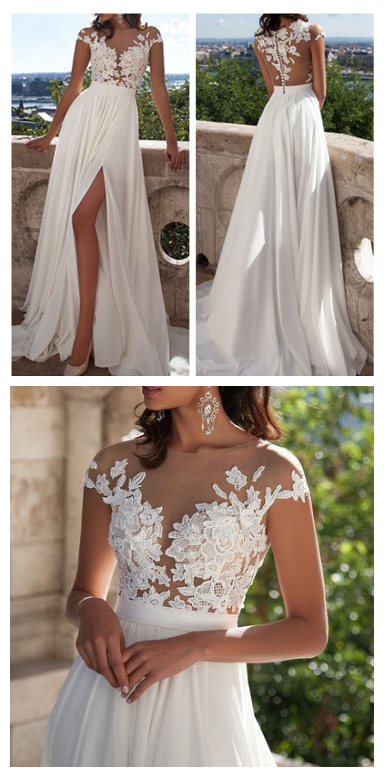 A-line Ivory Lace Beach Wedding Dresses,Front Slit See Through ...