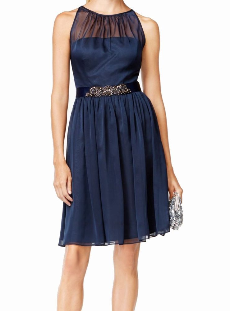 Blue Size Papell Adrianna New Women's Belted 16 Halter Chiffon zwInEZSqx