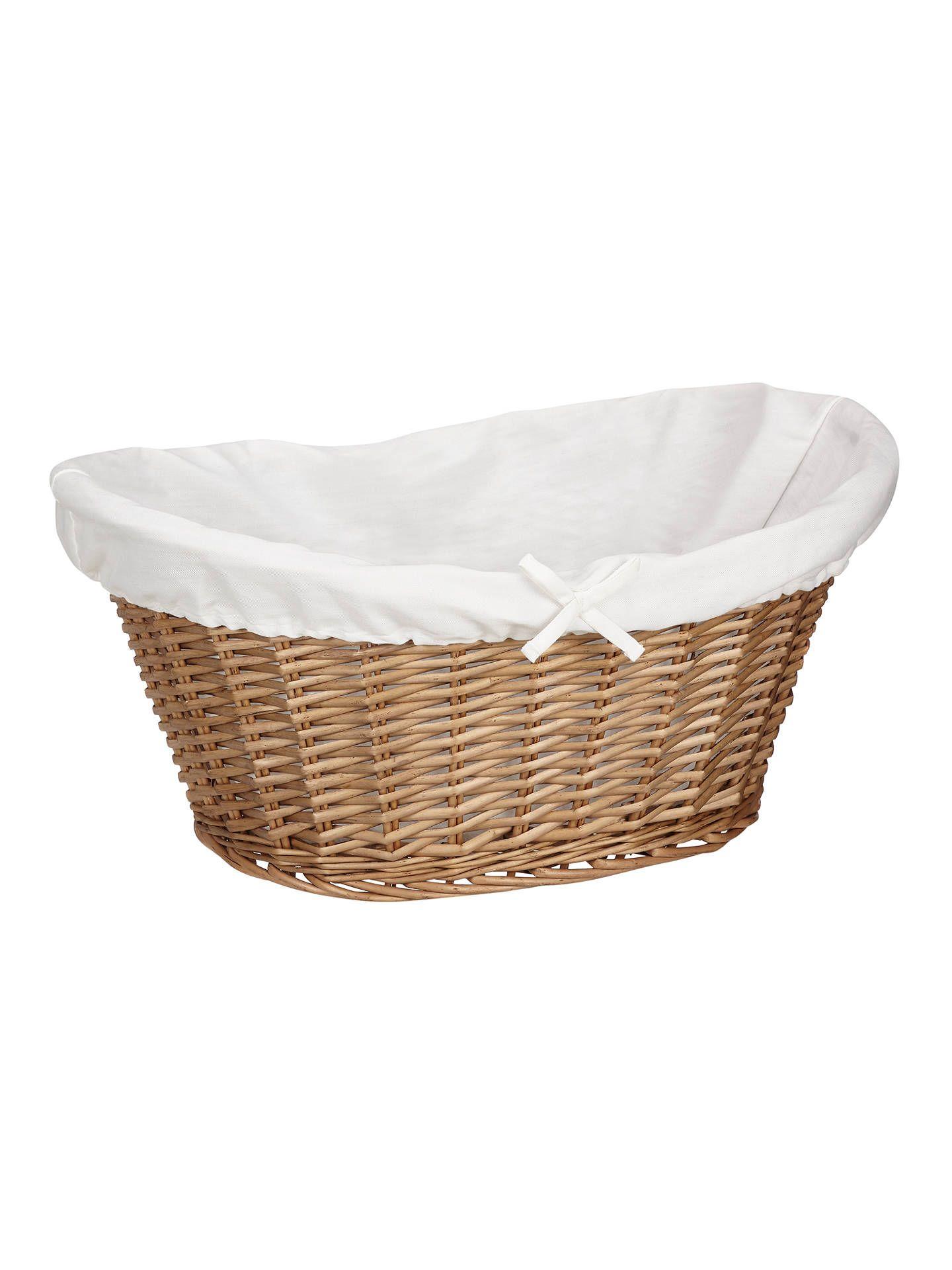 John Lewis Partners Lined Oval Wicker Laundry Basket Wicker