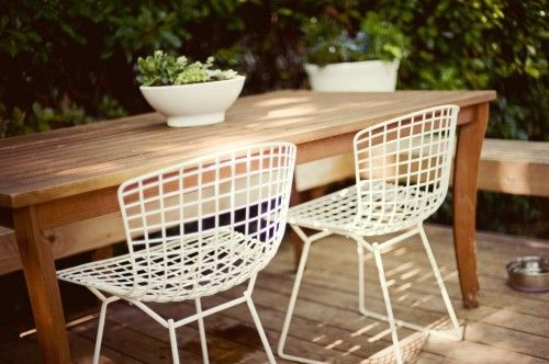 Swell White Wire Chairs Backyard Outdoor Dining Contemporary Creativecarmelina Interior Chair Design Creativecarmelinacom