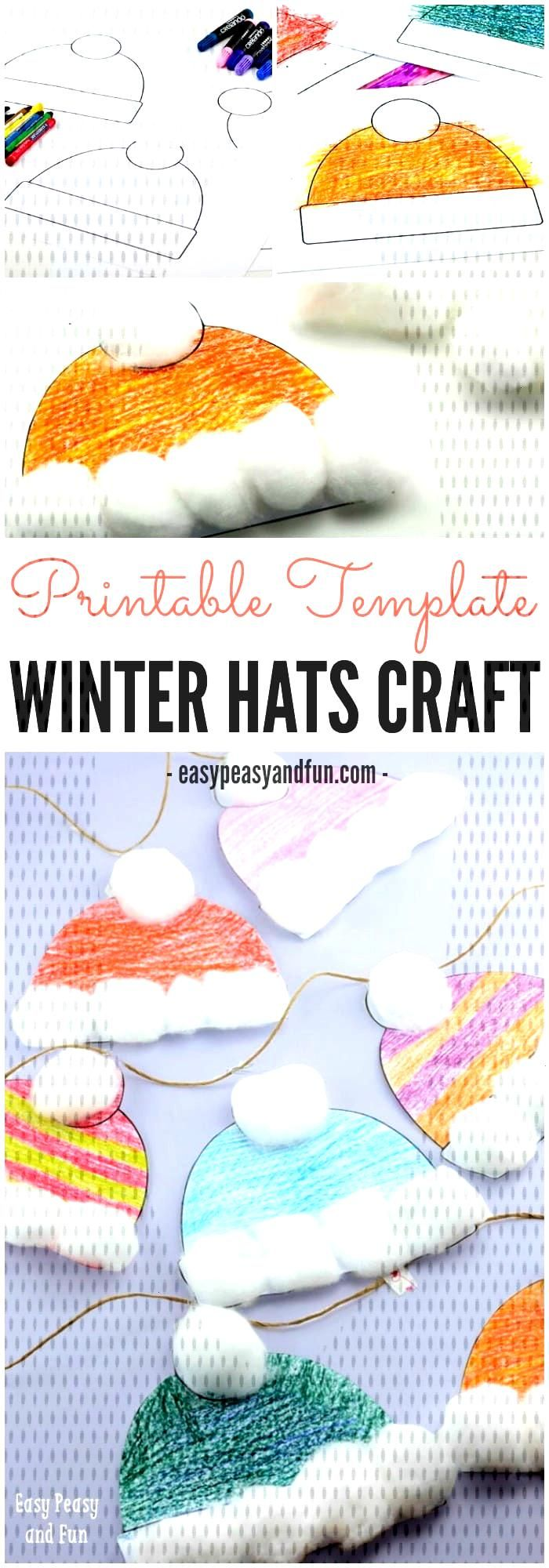 Winter Hats Craft for Kids - Perfect Classroom Craft - Easy Peasy and Fun - Winter Hats Craft for