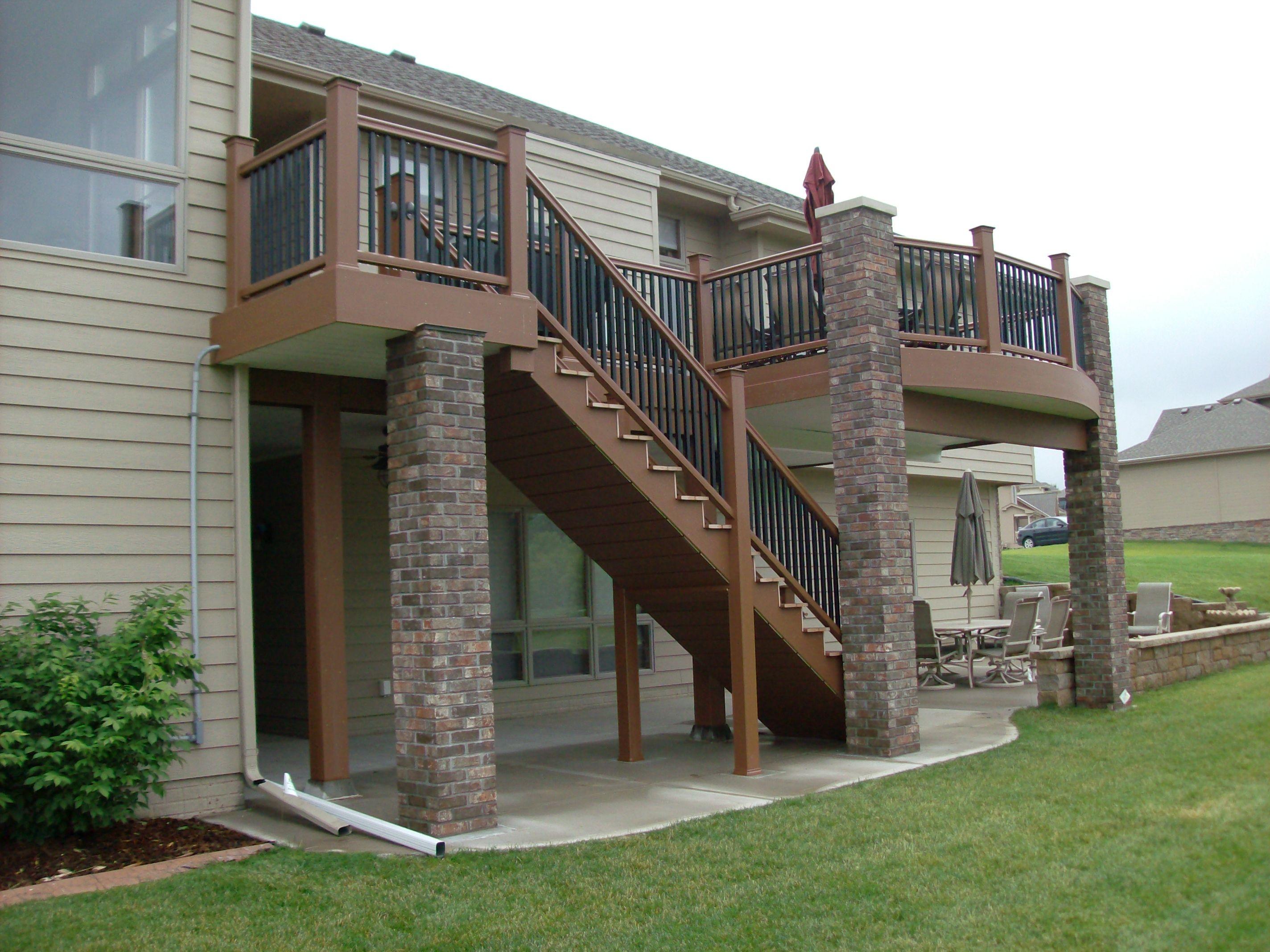 Brick Pillars | ... : New TimberTech XLM Deck In Mountain Cedar With Custom