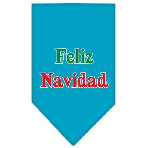 Feliz Navidad Screen Print Bandana Turquoise Small