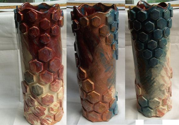 Geometric Pattern Vase  Hexagons by SplatteredPaints on Etsy