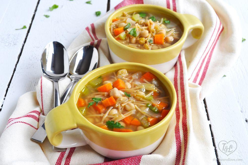 Mexican Chickpea Noodle Soup #chickpeanoodlesoup Delicious Vegan Mexican Chickpea Noodle Soup. Simple and comforting soup! #vegan #mexican #soup #chickpeanoodlesoup