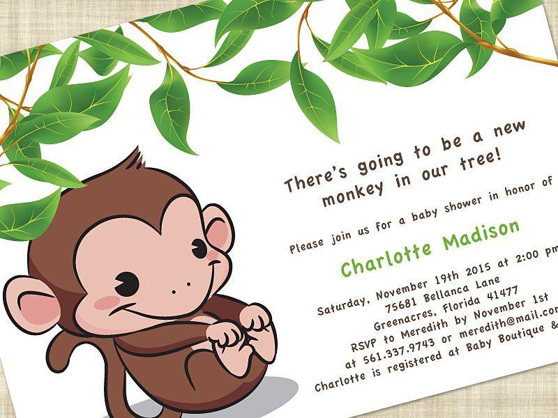 Cute Monkey Baby Shower Invitations (15) | Best Invitations | Monkey ...