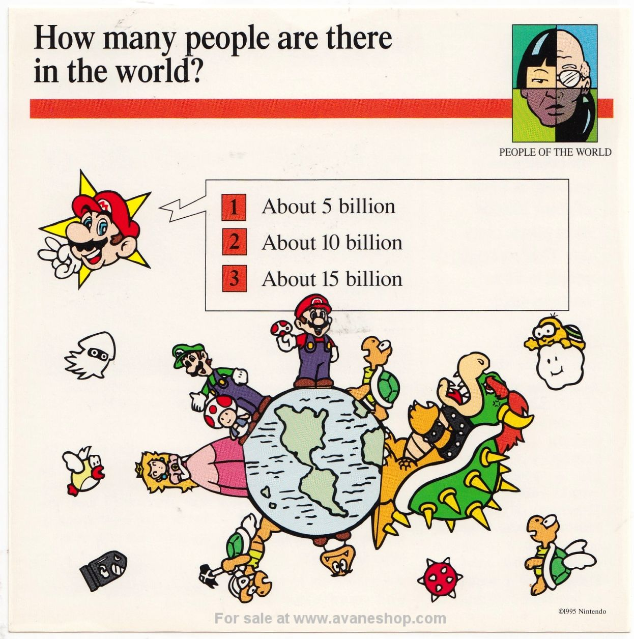 Mario Quiz Cards Single Card World Population Bowser Peach Luigi Vintage Nintendo
