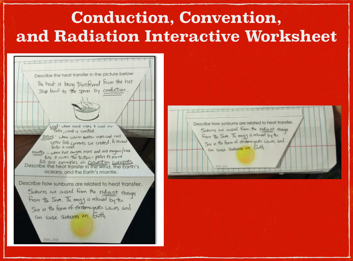 Energy Conduction Convection And Radiation Interactive Worksheet For Notes