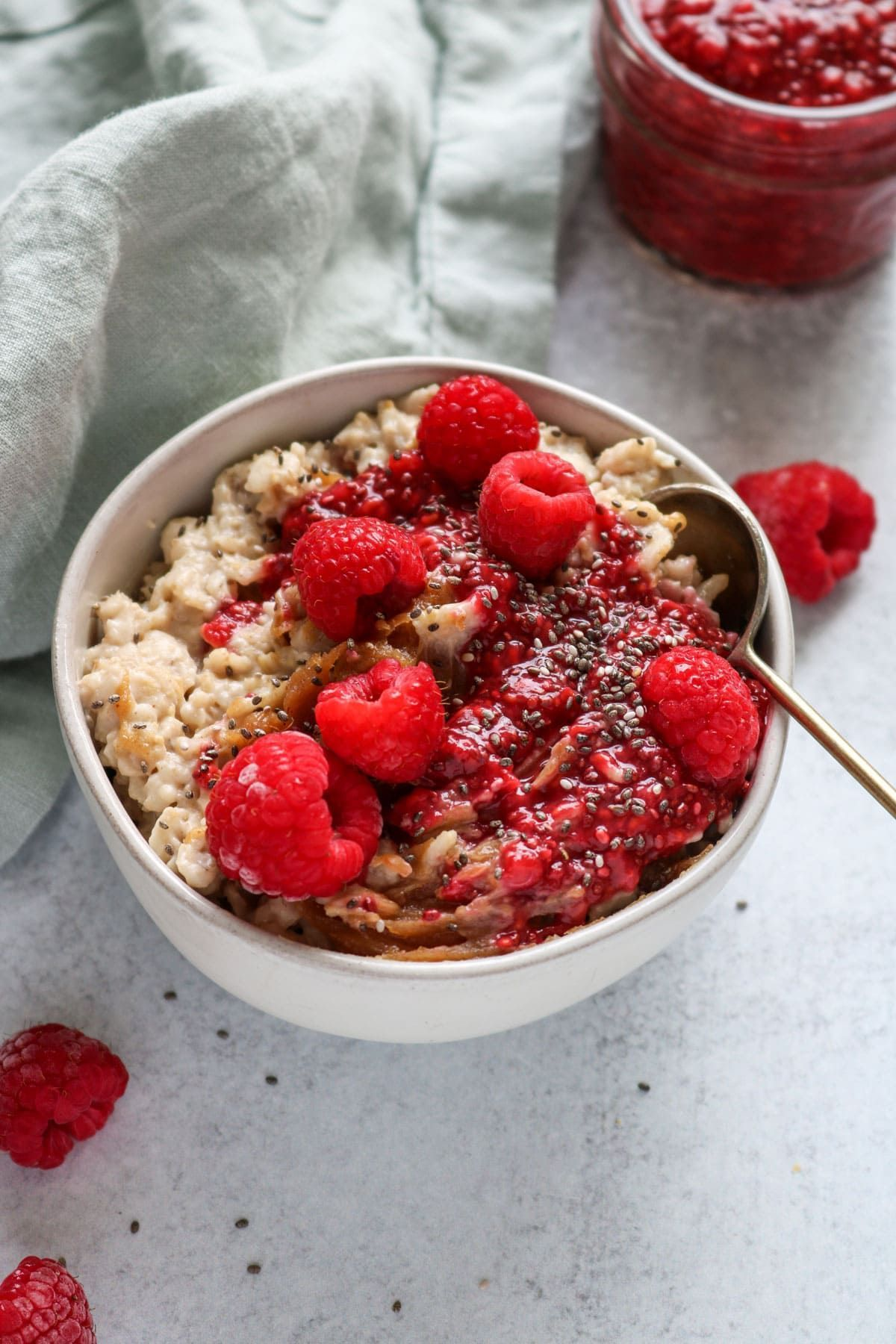 Peanut Butter And Raspberry Chia Jam Vegan Oatmeal Recipe Well Vegan Recipe In 2020 Vegan Oatmeal Oatmeal Recipes Chia Jam