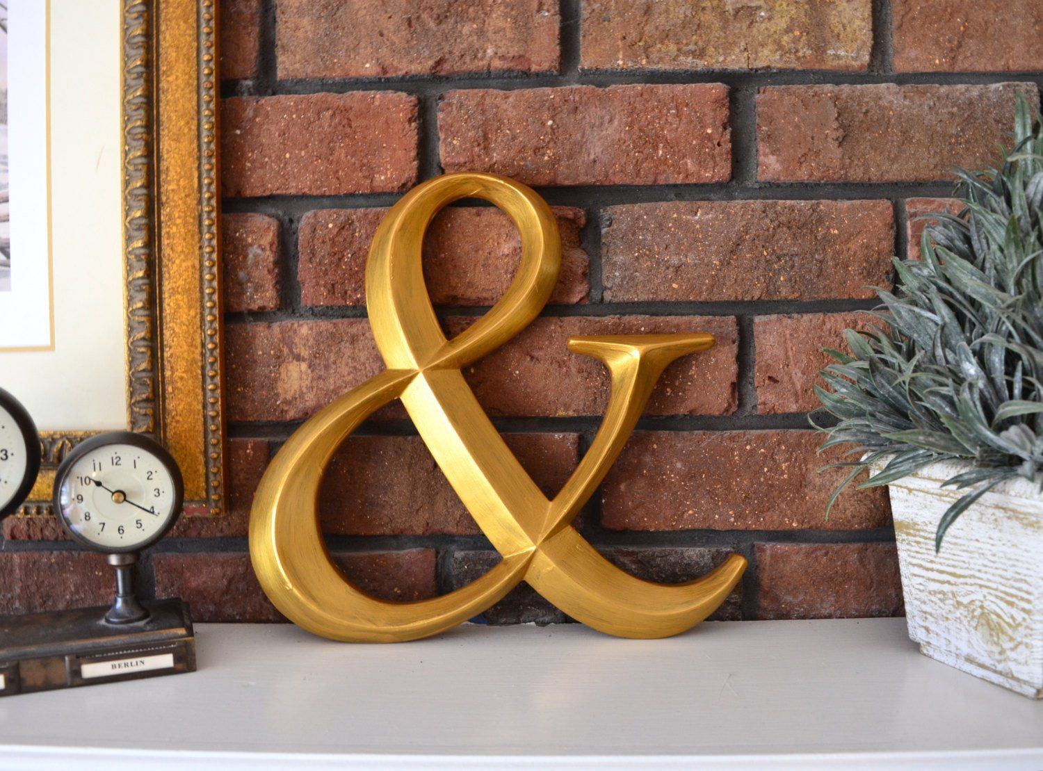 Gold Ampersand Wall Art Decor Wood Initial Prismatic 12 Large