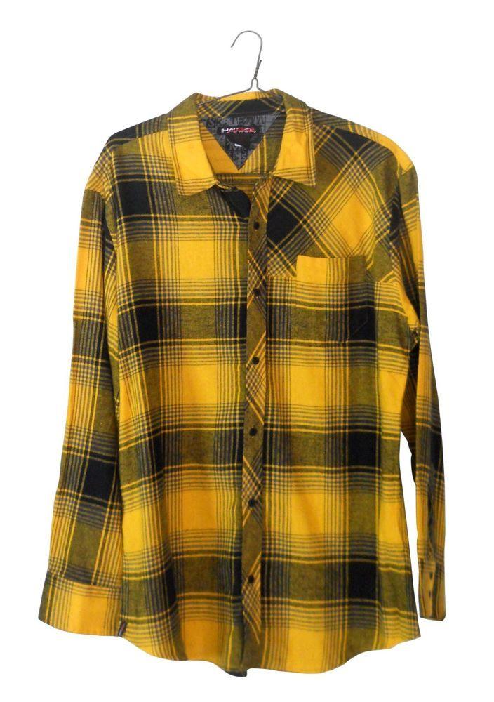 Xxl flannel shirt yellow plaid 2x tony hawk long sleeve for Mens yellow plaid flannel shirt