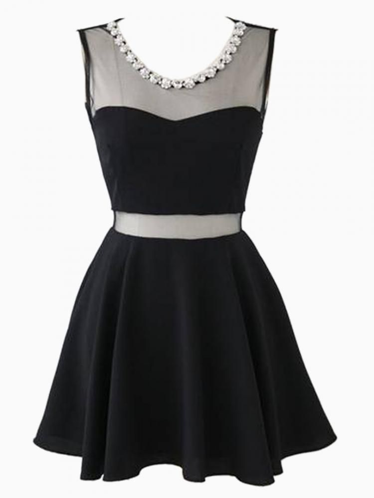 Little black dress | Mesh Contrast Rhinestone Neck Skater Dress | great for cocktail parties