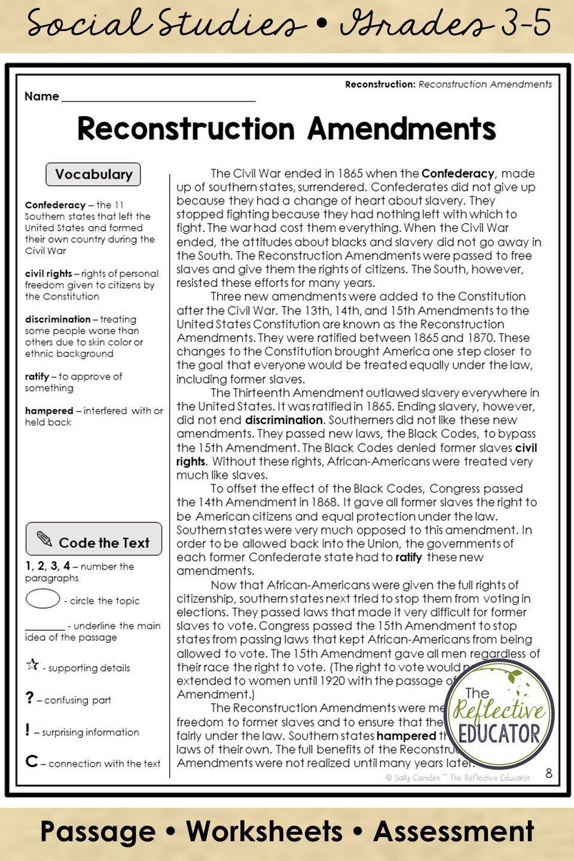 Reconstruction Amendments Worksheet - worksheet