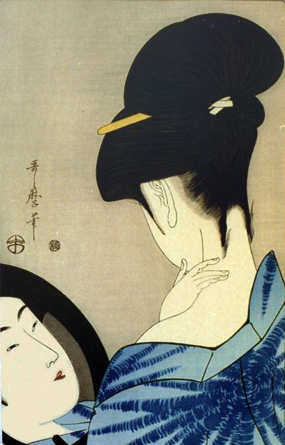 Utamaro bellezza che si guarda allo specchio stampe giapponesi nel 2019 traditional - Bambini che si guardano allo specchio ...