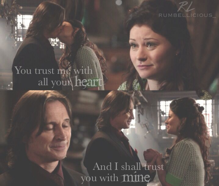 "Rumplestiltskin (in his proposal to Belle in 3.20 ""Kansas""): 'You trust me with all your heart... And I shall trust you with mine.' - RumBelle fan art 3.21 ""Snow Drifts"""
