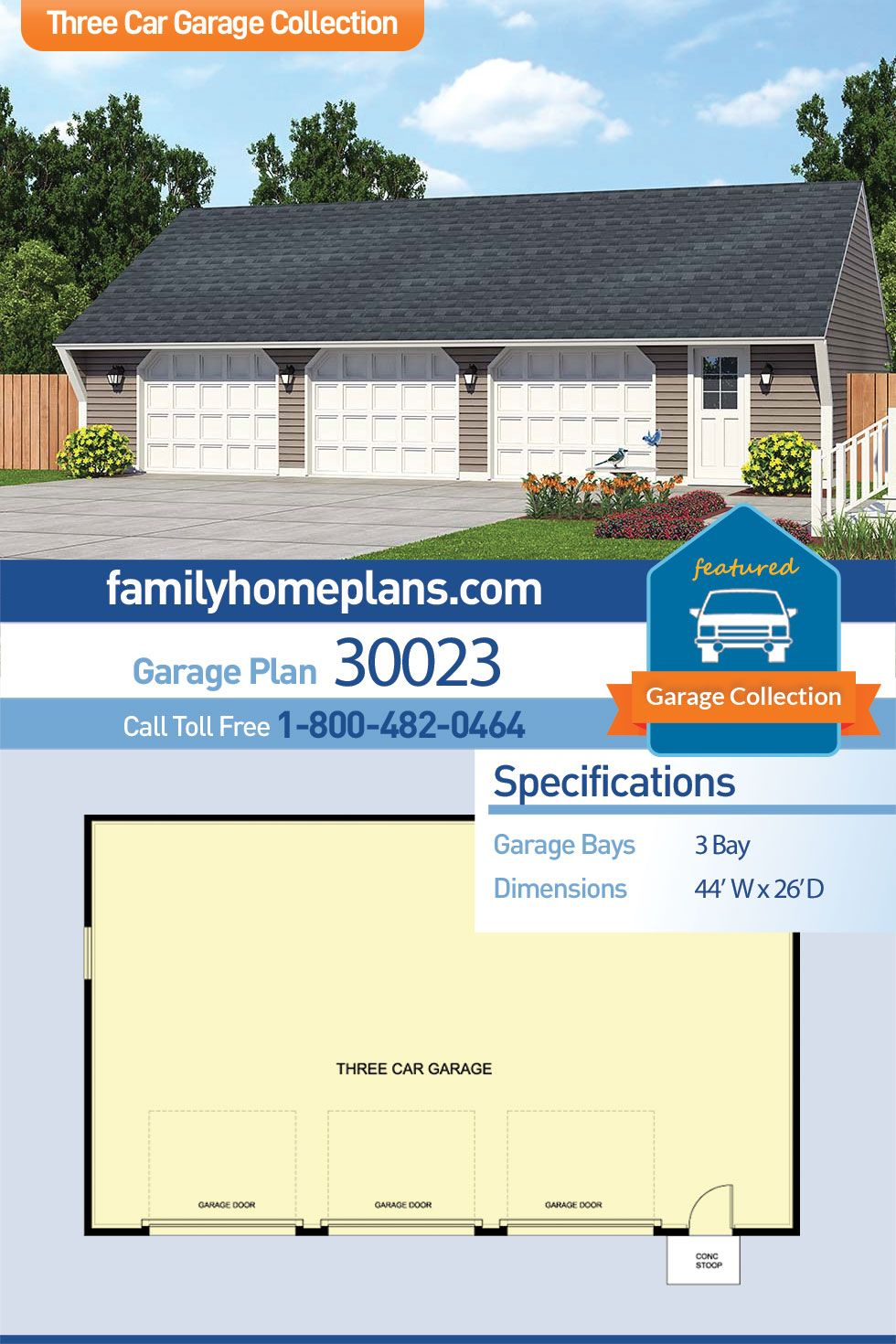 Traditional Style 3 Car Garage Plan Number 30023 Garage Building Plans Garage Plan 3 Car Garage Plans