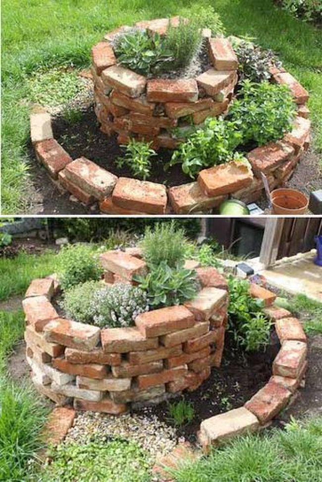 Herb Spiral Made Of Bricks Garten Hochbeet Garten Garten Ideen