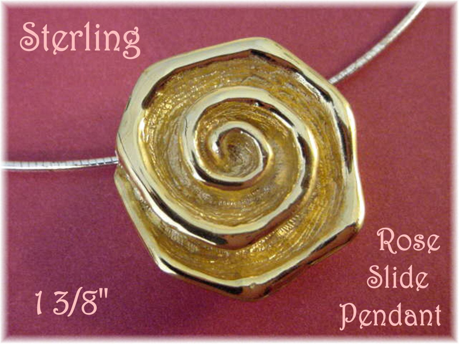 Sterling Silver - Yellow Rose of Texas Flower Slide Pendant - Gold Vermeil Victorian Artisan Design - FREE SHIPPING