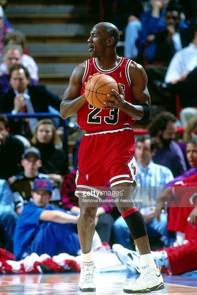 Michael Jordan #23 of the Chicago Bulls passes at the Veterans Memorial Coliseum circa 1993 in Portland, Oregon.