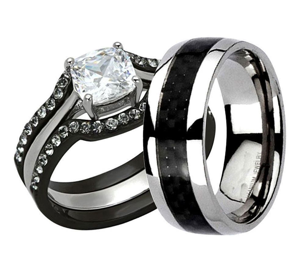 his hers 4 pc black stainless steel titanium wedding engagement ring band set lv - Ebay Wedding Ring Sets