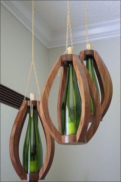 Wood Hanging Candle Lantern Set of 3 with by WoodsmithOfNaples, $190.00