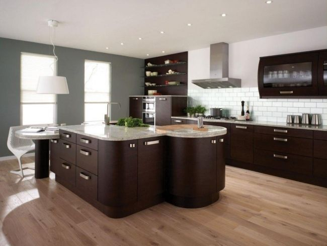 dunkelholz rund ideen designer kücheninsel marmor   Modernes Wohnen ...