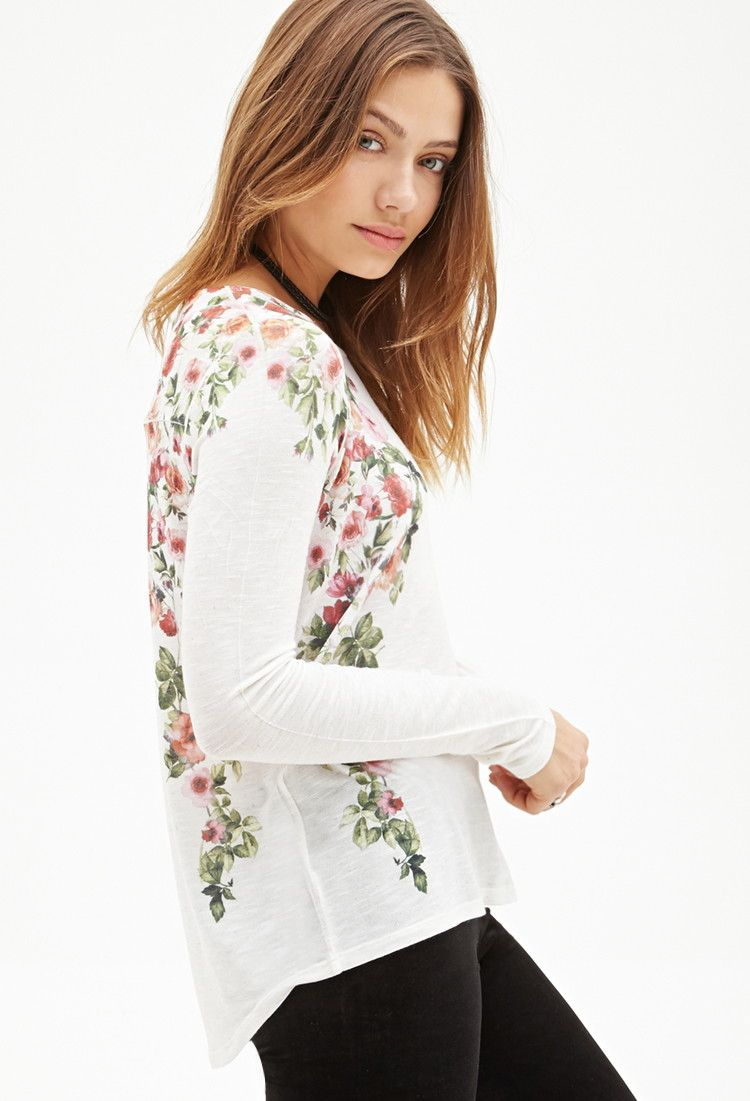 Mirrored Rose Print Top | Forever 21 - 2000117595