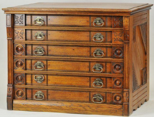 SIX DRAWER WILLIMANTIC SPOOL CABINET : Lot 1380 | Furniture ...