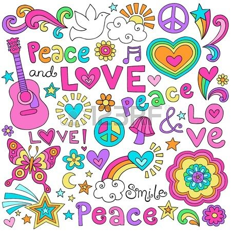 Peace Love and Music Flower Power Groovy Psychedelic Notebook Doodles Set with Peace Signs, Dove, Acoustic Guitar. Stock Photo - 17456022