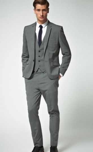 Grey suit/vest with black tie. | Wedding- Bridal Party | Pinterest