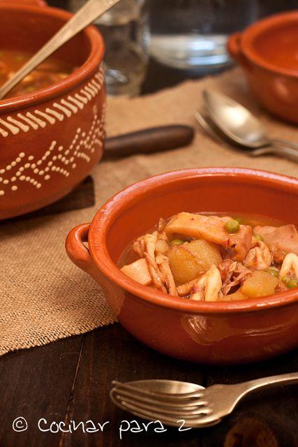 Guiso de calamares y patatas en la olla r pida food savory recetas salado pinterest - Patatas en olla rapida ...