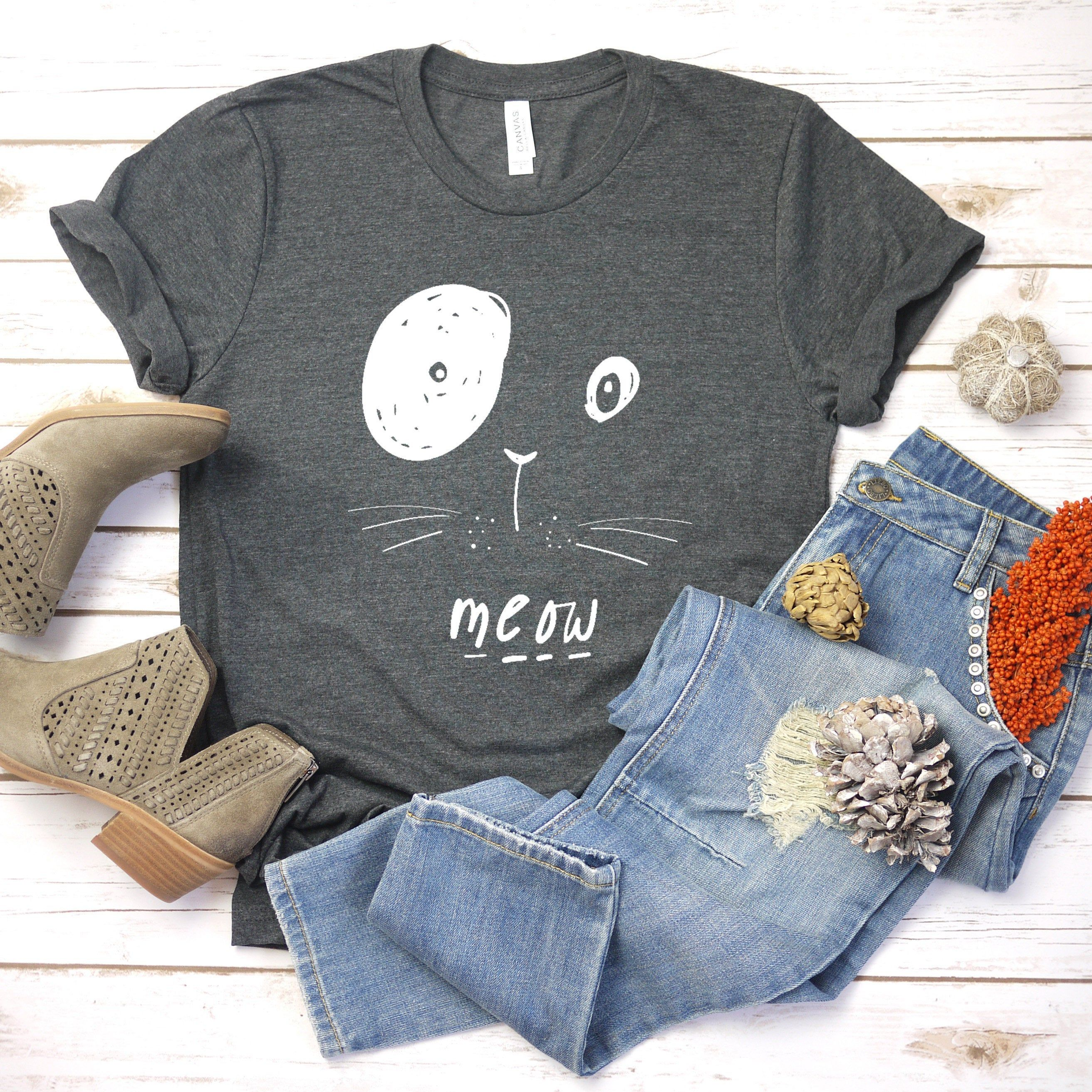 Cat Shirt Kitty Kitten T Shirt Tee Mens Womens Ladies Funny Present I Love Cats Animal Lover T-shirt Whiskers Face Girlfriend Fashion Cute